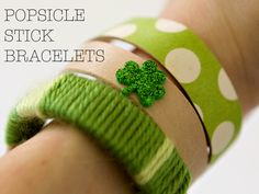 Your kids will love using popsicle sticks to make jewelry for St. Paddy's day
