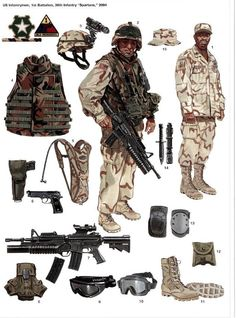 US Army desert equipment. Military Gear, Military Police, Military Equipment, Military Weapons, Military History, Military Uniforms, Usmc, Army Uniform, Us Marines Uniform