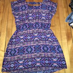 mini dress multicolored aztec printed short sleeve dress, stretchy in the middle, mid thigh length pink republic Dresses Mini