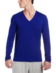 HUGO BOSS Men's Cotton Stretch Long Sleeve V-Neck Shirt, Royal Blue, Small Boss logo on left breast. Boss black.  #HUGO_BOSS #Apparel