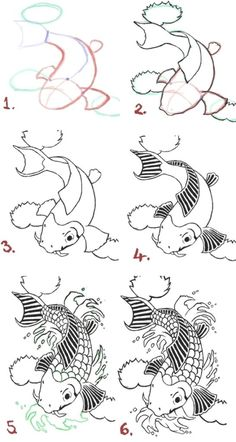 Draw a koi fish step by step - 9 Art Draw To Practice