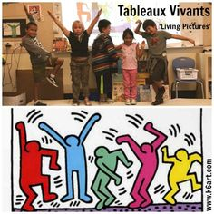 "Vivants: 'Living Pictures' Performance Art (K - 6 Art) First grade tableau vivant: Keith Haring, ""Five Figures Dancing"". Our first and second graders.First grade tableau vivant: Keith Haring, ""Five Figures Dancing"". Our first and second graders. Art Lessons For Kids, Art For Kids, Keith Haring Art, Tableaux Vivants, Visual And Performing Arts, Arts Integration, Ecole Art, Arte Pop, Dark Fantasy Art"