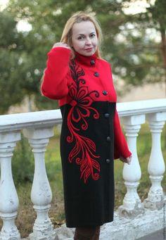 """Верхняя одежда ручной работы. Ярмарка Мастеров - ручная работа. Купить Вязаное пальто """"Жар-птица"""". Handmade. Разноцветный"""