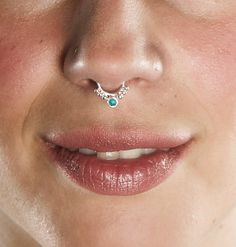 EKA TURQUOISE Silver septum ring, 1mm silver wire for pierced nose 18g approx (Code 6) by TRIBALIK on Etsy