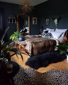 Home Interior Boho Dark walls leopard skin rug and throw and golden accessories in the bedroom. Very luxurious Interior Boho Dark walls leopard skin rug and throw and golden accessories in the bedroom. Dream Bedroom, Home Bedroom, Bedroom Ideas, Master Bedroom, Royal Bedroom, Budget Bedroom, Interiores Art Deco, Trendy Bedroom, Dark Cozy Bedroom