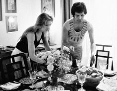 Freddie and Mary throwing a dinner party in their flat in 1977.