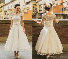 Cheap Rustic Country Tea Length Lace Wedding Dresses 2016 Sheer Scoop Cap Sleeves A Line Hand Made Flower Sash Arabic Bride Gowns Best Wedding Dresses Online Simple Classic Wedding Dresses From Bestdavid, $120.61| Dhgate.Com