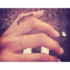 Cute tattoo that has a lot of meaning behind it, Promises are everything. May be something I will want when I get married