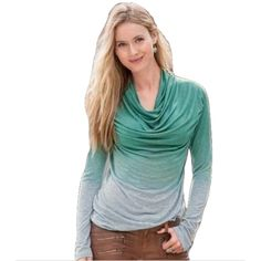 Sundance Sz M Green/Gray Cowl Neck Long Sleeve Top Sundance Sz M Green/Gray Cowl Neck Long Sleeve Top EUC  Gentle ombre fades from mint to gray in this easy long sleeve tee with plenty of ruching and an always-flattering cowl-neck. Stretchy Rayon Machine wash USA Bust 34-36 stretchy EUC Sundance Tops