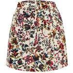 Yoins High Waisted Petite Pattern Flowers Skater Skirt