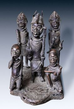 Africa | Bronze altar sculpture from the Benin/Ife people of Nigeria | 20th century