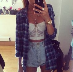 high wasted shorts and plaid. Soo cute! but i wouldn't have the see through crop top i'd get a solid one