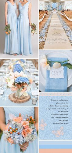 something blue wedding with peach, blue and peach wedding, summer wedding, spring wedding color palette Peach Wedding Colors, Wedding Color Schemes, Wedding Flowers, Wedding Dresses, August Wedding Colors, Wedding Bouquets, Bridesmaid Bouquets, Bridesmaid Ideas, October Wedding
