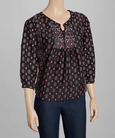 Black & Red Embroidered Peasant Top by Fashion Web #zulily #zulilyfinds