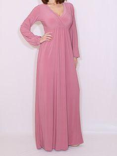 Dusty rose maxi dress Long sleeve dress Maxi dress in Mauve