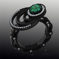 Turkish Engagement Couple Jewelry Ring, Green Sapphire 10KT Black Gold Filled Maxi Rings, o Jewelry Fashion Rings For Women 2015