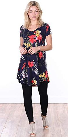 Popana Women's Short Sleeve Summer Tunic Top for Leggings Plus Size Made in USA Tunic Tops With Leggings, Dresses With Leggings, Legging Outfits, Summer Tunics, Summer Shirts, Cute Summer Outfits, Spring Outfits, Chic Outfits, Short Sleeve Tunic Tops