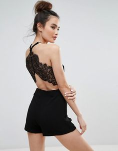 Pull&Bear Lace Back Detail Playsuit  £27.99    ASOS