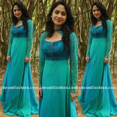 mia george in blue long gown for indru netru nalai press meet
