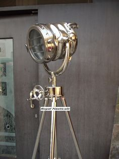 NAUTICAL SEARCHLIGHT THEATER SPOTLIGHT FLOOR LAMP REVOLVING TRIPOD FULL CHROME