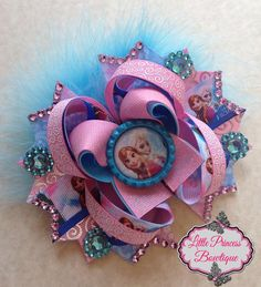 Frozen Hair Bow by LilPrincessBowtique8 on Etsy, $12.00