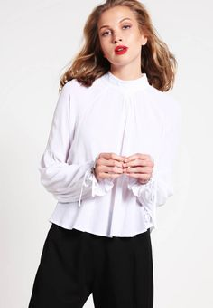 """Blouse - off white. Sheer:semi-sheer. Outer fabric material:100% viscose. Total length:21.5 """" (Size S). Collar:Mandarin collar. Back width:14.0 """" (Size S). Length:standard. Fit:regular. Pattern:plain. Washing instructions:Hand wash only. Sleeve length:long,25.5 """" (Si..."""