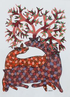 FolkPaintingsIndia Gond Painting, Indian Folk Art, Green Mountain, Indigenous Art, Tribal Art, Paint Designs, Art Forms, Diy Art, Old Things