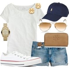 #summer #outfits / White Tee + Blue Cap