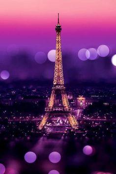 Eiffel Tower Night Bokeh Lights iPhone 5 Wallpaper