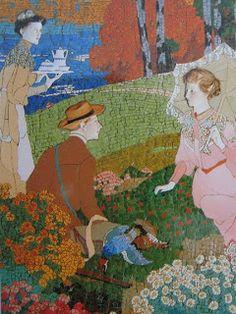 Mosaics de Casa Lleó Morera són sorprenentment original. Ells preparen el que serà el cap d'Oé obra de Bru i Salelles, els mosaics de l'escena del Palau de la Música Catalana .