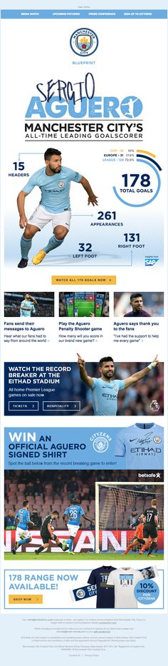 Manchester City sent this email with the subject line: Watch all Aguero's goals, win his shirt & a message from him! - Read about this email and find more newsletter emails at ReallyGoodEmails.com #gif #interactive #newsletter #sports