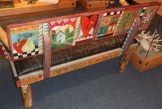 Sticks Leather Love Seat Bench