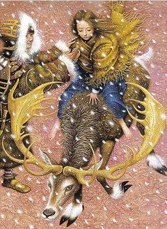 """""""The Snow Queen"""" by Hans Christian Andersen {Russian artist - Illustration by Vladislav Erko} - it shows Gerda and the little robber girl with Bae the reindeer. Art And Illustration, Book Illustrations, Fairy Tale Images, Art Magique, Fairytale Art, Hans Christian, Snow Queen, Fantasy Art, Book Art"""