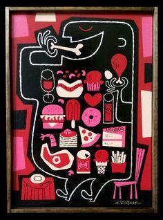 """Derek Yaniger. Gluttony. Obra original, que pertenece a la exposición colectiva """"Pecado Capital"""", organizada por La Fiambrera Art Gallery. Acrílico sobre madera"""