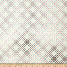 Summer Festival Bias Plaid Cream from @fabricdotcom  Designed by Color Principle for Henry Glass, this fabric is perfect for quilting, apparel and home decor accents. Colors include ivory, red and blue.