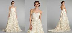 Ivory petal textured gown, sheer corseted Alencon lace bodice, sweetheart neckline, silk ribbon belt at natural waist, taffeta and silk organza petaled A-line bridal skirt, chapel train  - Lazaro - LZ3256