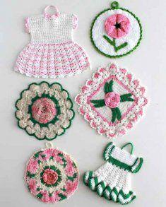Vintage Pink Floral Potholders