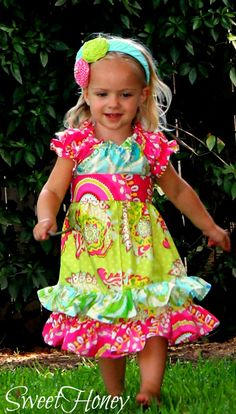 **Just a few left**  Infant toddler little girls vintage modern peasant dress!  Pink yellow blue green   Summer fall girls outfit