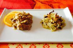 straccetti manzo arancia e insalatina finocchi al forno