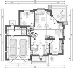 Rzut parteru projektu Opałek K Architecture Design, Floor Plans, House Design, How To Plan, Home, Templates, Two Story Houses, Home Plans, American Houses