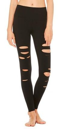 c0db463103421d The Alo Yoga High-Waist Ripped Warrior Legging features flatlocked comfort  seaming, a gusset linking and sleek high waist.