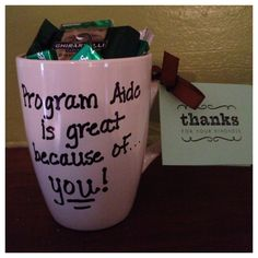 Coffee mug from Dollar Store. Use an oil-based sharpie to write a message. Then bake at 350 degrees for 30 minutes. Volunteer Gifts, Volunteer Appreciation, Appreciation Gifts, Thank You Gifts, Thank You Cards, Oil Based Sharpie, Easy Coffee, Mint Candy, 350 Degrees
