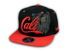 f6c22487816 This is a High Quality Black and Red Cali Bear Snapback Hat from Top Level.  It has Embroidered Cali in on the Front! With A Gray Bear in Print!