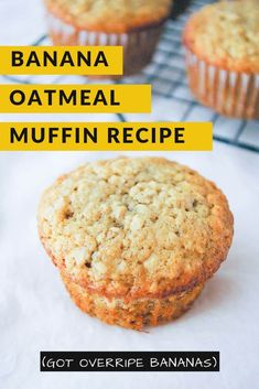 Good warm or cold, these quick and easy banana oatmeal muffins are a great way to start your day and keep going all the way to lunch! Oatmeal Breakfast Muffins, Oat Muffins, Baby Food Recipes, Dessert Recipes, Desserts, Sweet Roll Recipe, Baked Potato Recipes, Easy Banana Bread, Oatmeal Recipes
