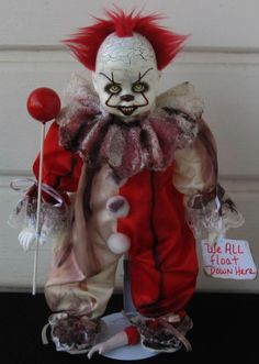 Horror Gothic Scary Ooak Art Doll Pennywise 'It' Inspired Creepy Clown L. Ganci | eBay