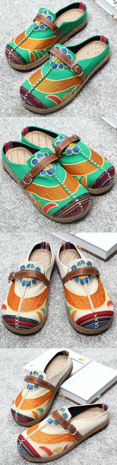US$19.32 Colorful Embroidered Buckle Folkways Backless Loafers For Women
