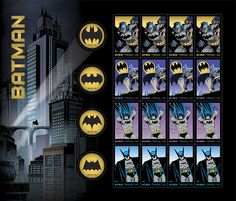The US Postal Service has released a series of crime-fighting Batman postage stamps to celebrate the Dark Knight's 75th anniversary. Each sheet of 20 stamps comes with eight unique stamp designs.