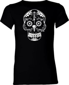Women's Bicycle T-Shirt Bicycle Gears Skull Fitted Black Tee with White Skull.  via Etsy.