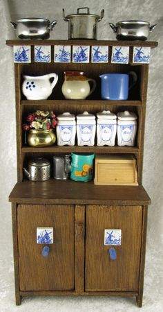 Vintage Miniature Delft Tile Kitchen Hutch Buffet Stein Pots Canisters Doll Toy