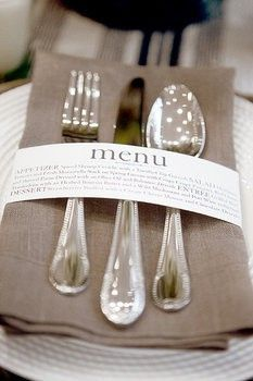 Using the napkin ring is great inexpensive way to tell your guest the menu. So cute for a wedding, party or a large fundraiser!--- keeping this in mind for when I become an event/wedding planner. Wedding Events, Our Wedding, Dream Wedding, Weddings, Wedding Reception, Wedding Table, Low Budget Wedding, Reception Table, Wedding Blog